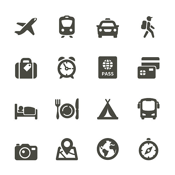 Transport and travel vector image icon set Icon set for Web and Mobile App. Rounded Set 4 airplane symbols stock illustrations