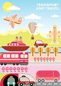 Transport and Travel, vector template of magazine cover