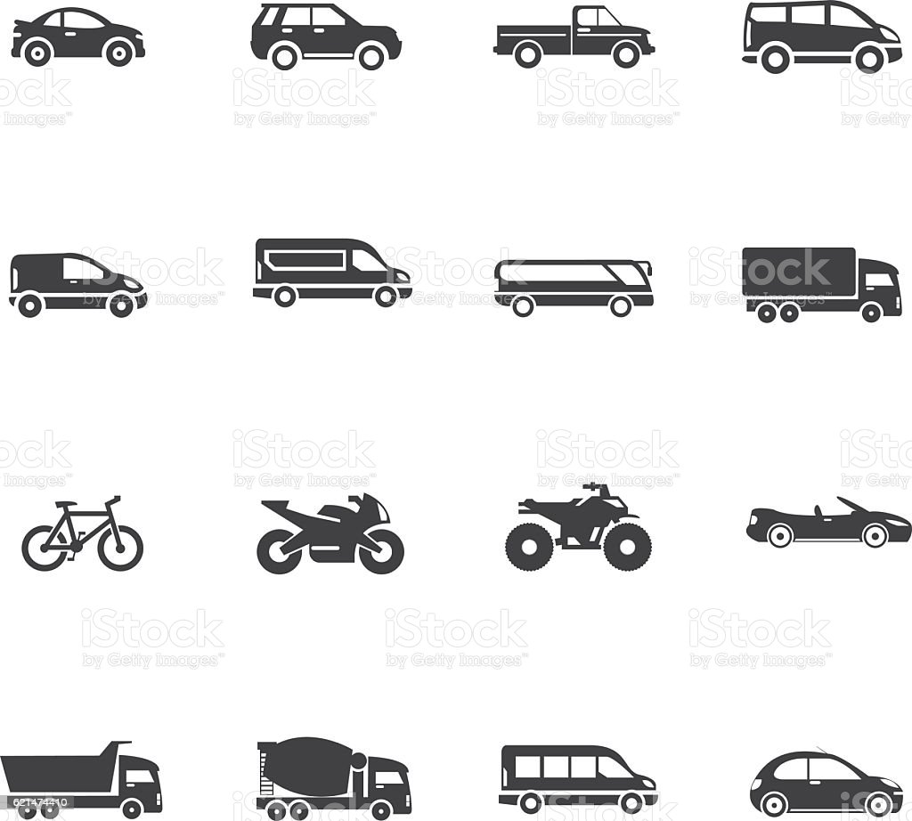 Transport And Vehicle Icon Set vector art illustration