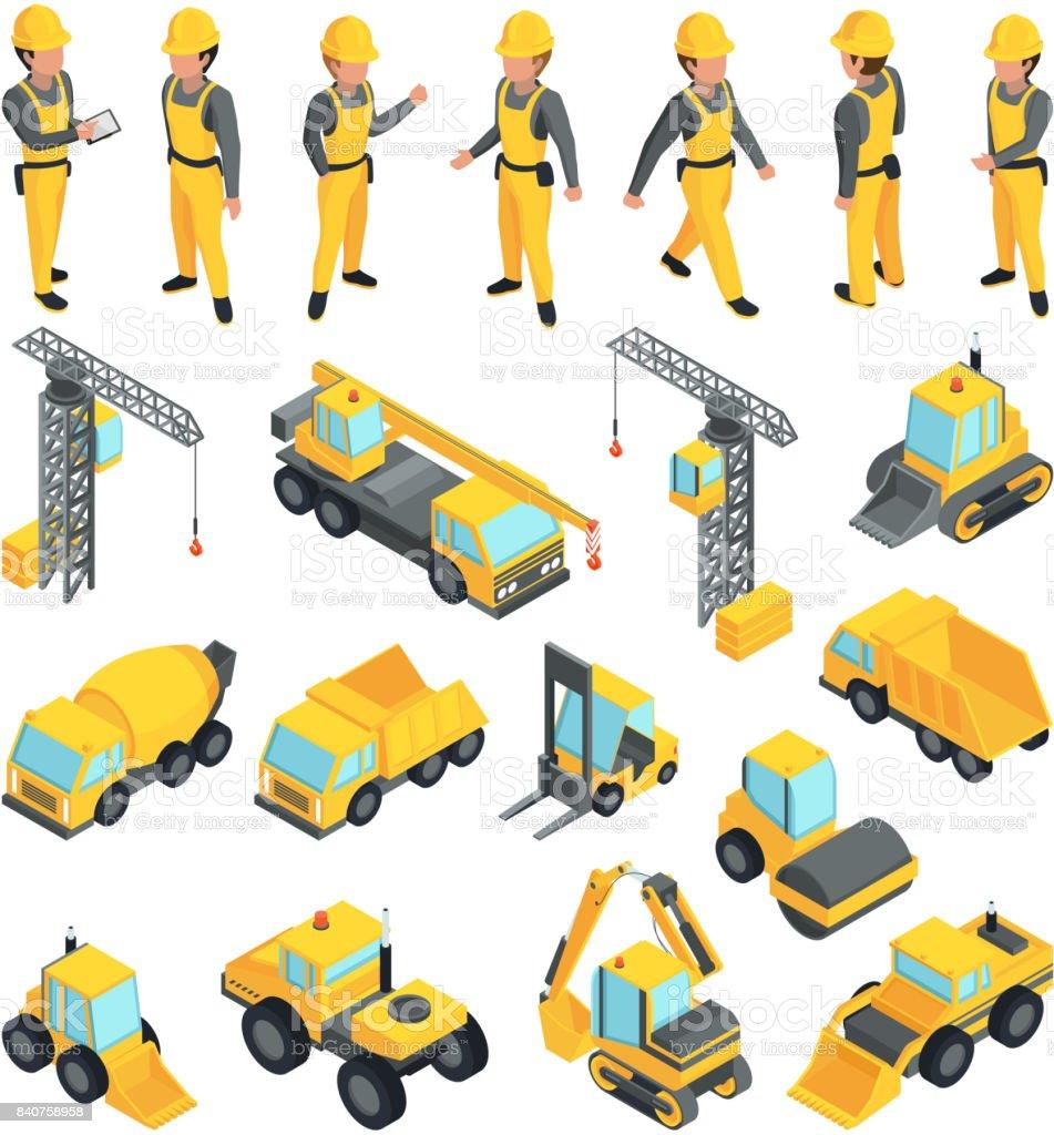 Los trabajadores de edificios de construcción y transporte. Imágenes de vector isométrica estilo - ilustración de arte vectorial