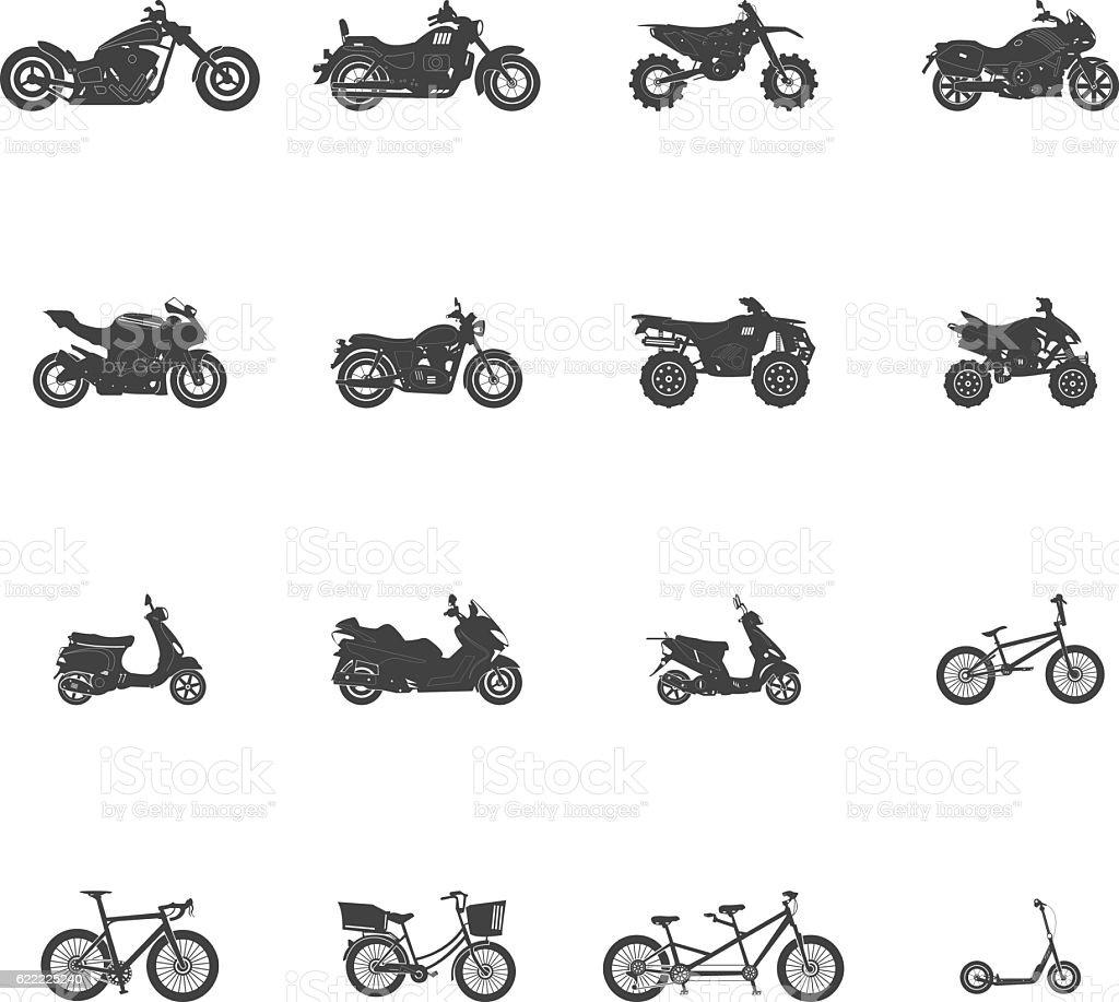Transport Bike Motorcycle ATV Icon Set vector art illustration
