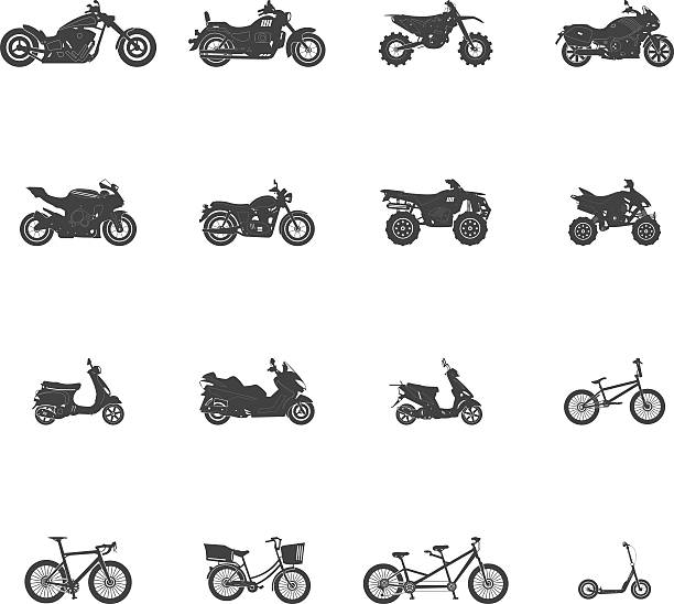 transport bike motorcycle atv icon set - motorroller stock-grafiken, -clipart, -cartoons und -symbole