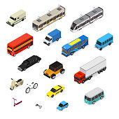 Transport Car 3d Icons Set Isometric View Include of Bus, Truck, Taxi, Motor and Van. Vector illustration of Icon