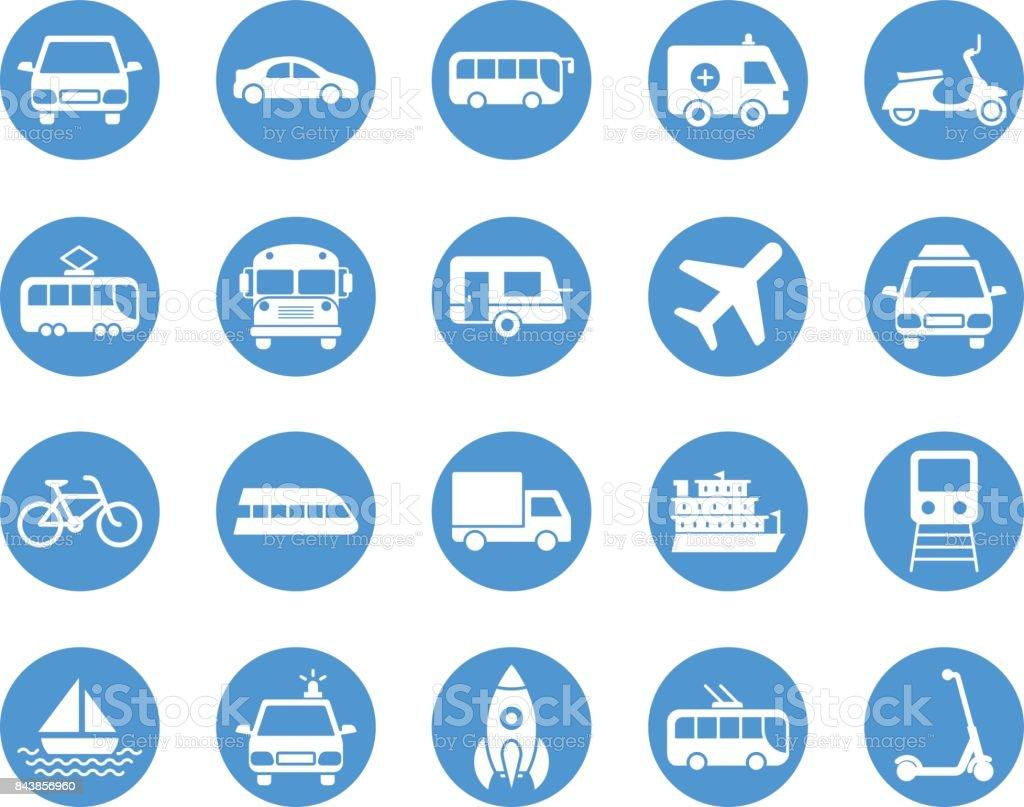 Juego de iconos circulares de transporte - ilustración de arte vectorial