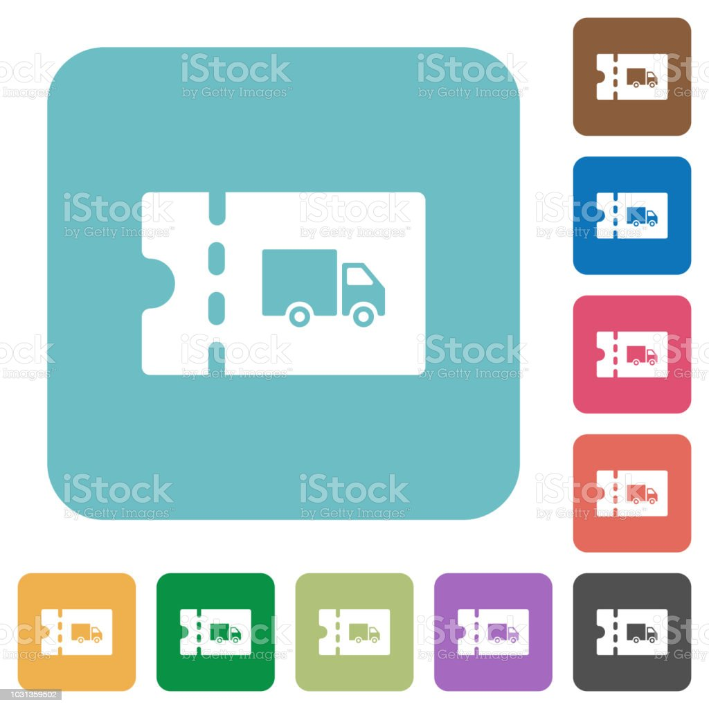 Transport discount coupon rounded square flat icons