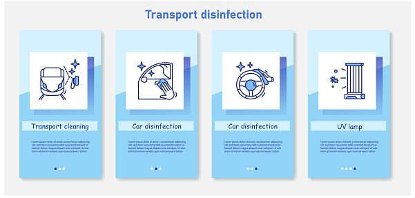 Transport disinfection onboarding mobile app page screens.Preventing virus spread concepts set