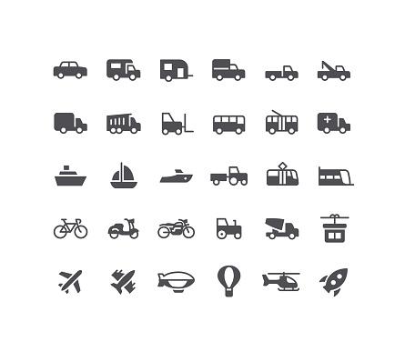 Transport Flat Icons Set