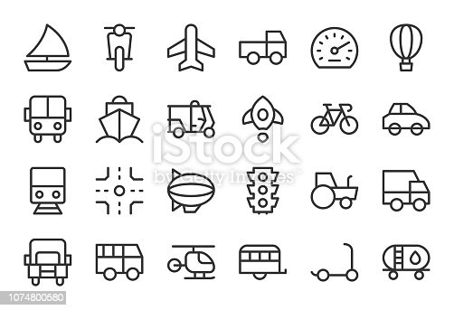 Transport Icon Light Line Series Vector EPS File.