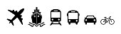 Transport icon set airplane, ship or ferry, train, public bus, auto, bike symbols in flat style. Shipping delivery symbol isolated on white background. Vector illustration for graphic design, Web, app