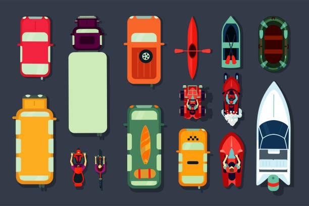 ilustraciones, imágenes clip art, dibujos animados e iconos de stock de conjunto de iconos de transporte. vista superior de coches, bicicletas y botes. estilo de dibujos animados planos. colección de señales vectoriales. - overhead