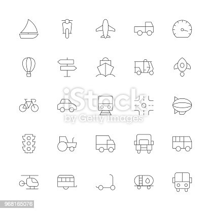 Transport Icon Ultra Thin Line Series Vector EPS File.
