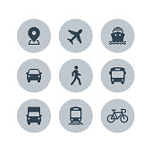 istock Transport icons. Airplane, Public bus, Train, Ship/Ferry, Car, walk man, bike, truck and auto signs. Shipping delivery symbol. Air mail delivery sign. Vector 1184362957