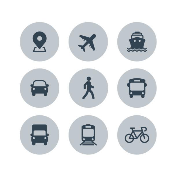 トランスポート アイコン。飛行機、公共バス、列車、船/フェリー、車、歩く人、自転車、トラックや自動標識。出荷配送記号です。航空郵便配達サイン。ベクトル - 通勤点のイラスト素材/クリップアート素材/マンガ素材/アイコン素材