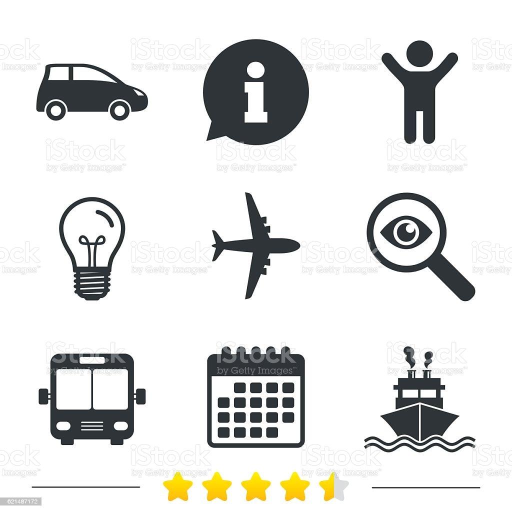 Transport icons. Dem Auto, Flugzeug, Bus, Schiff. Lizenzfreies transport icons dem auto flugzeug bus schiff stock vektor art und mehr bilder von abzeichen