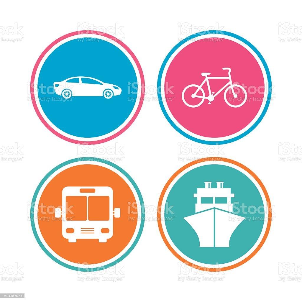 Transport-Symbole. Auto, Fahrrad, Bus, Schiff. Lizenzfreies transportsymbole auto fahrrad bus schiff stock vektor art und mehr bilder von abzeichen