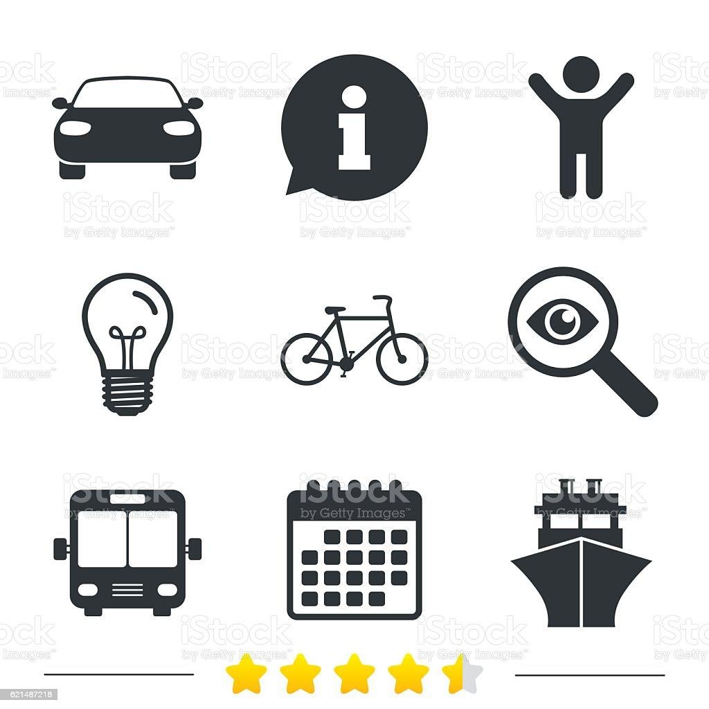 Icone di trasporto. Noleggio biciclette, autobus e alla nave. icone di trasporto noleggio biciclette autobus e alla nave - immagini vettoriali stock e altre immagini di affari finanza e industria royalty-free