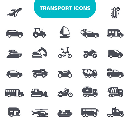 Transport Icons. Contains such icons as Truck, Car, Vehicle, Bike, Sailboat