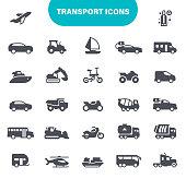 Air Vehicle, Motorbike, Airplane, Bicycle, Car, Icon Set