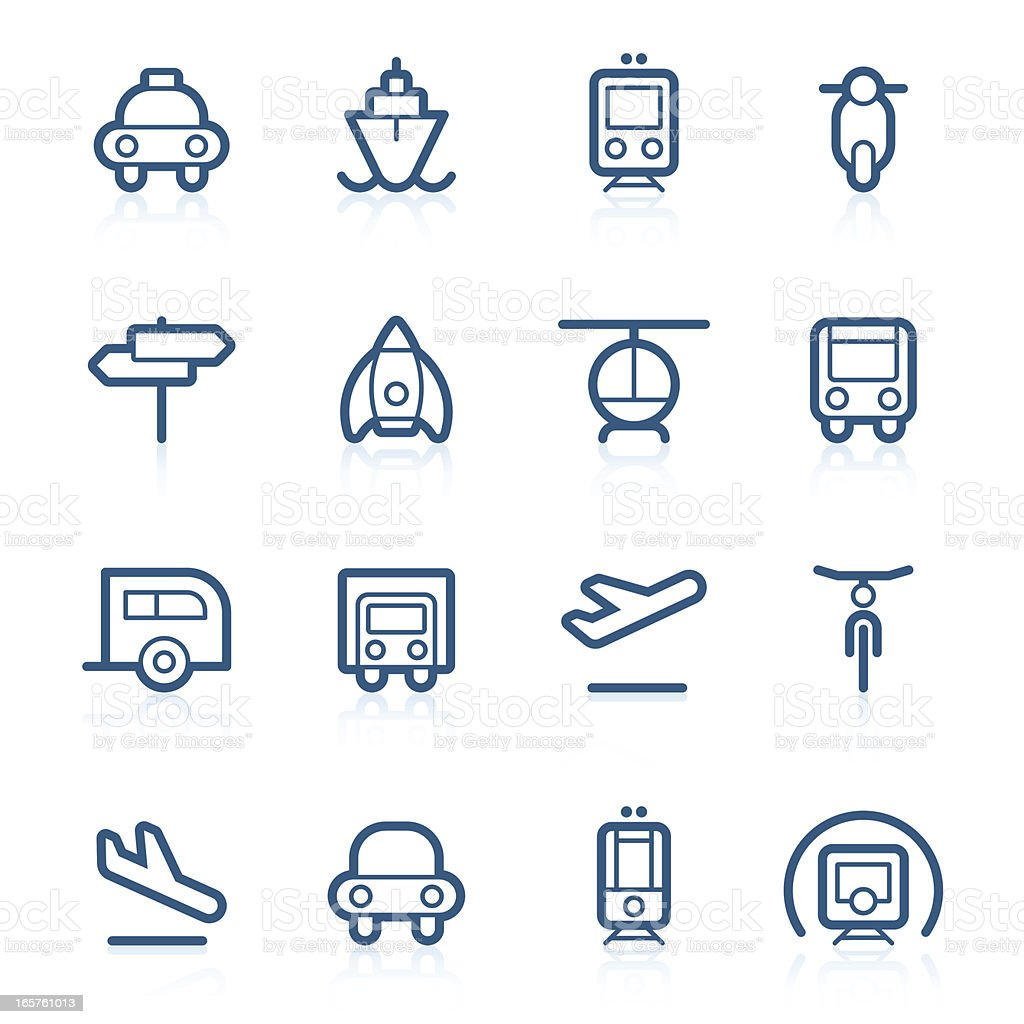 Transport icons | Contour series royalty-free stock vector art