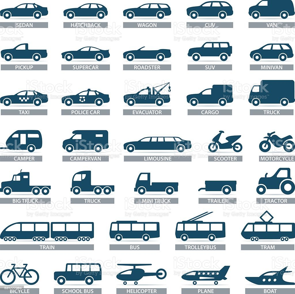 Transport icons - illustration vector art illustration
