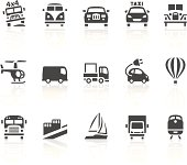 Vector icons with an transport theme. Simple series. One icon consists of a single object + reflection (on a separate layer). EPS8, JPEG + AI CS3