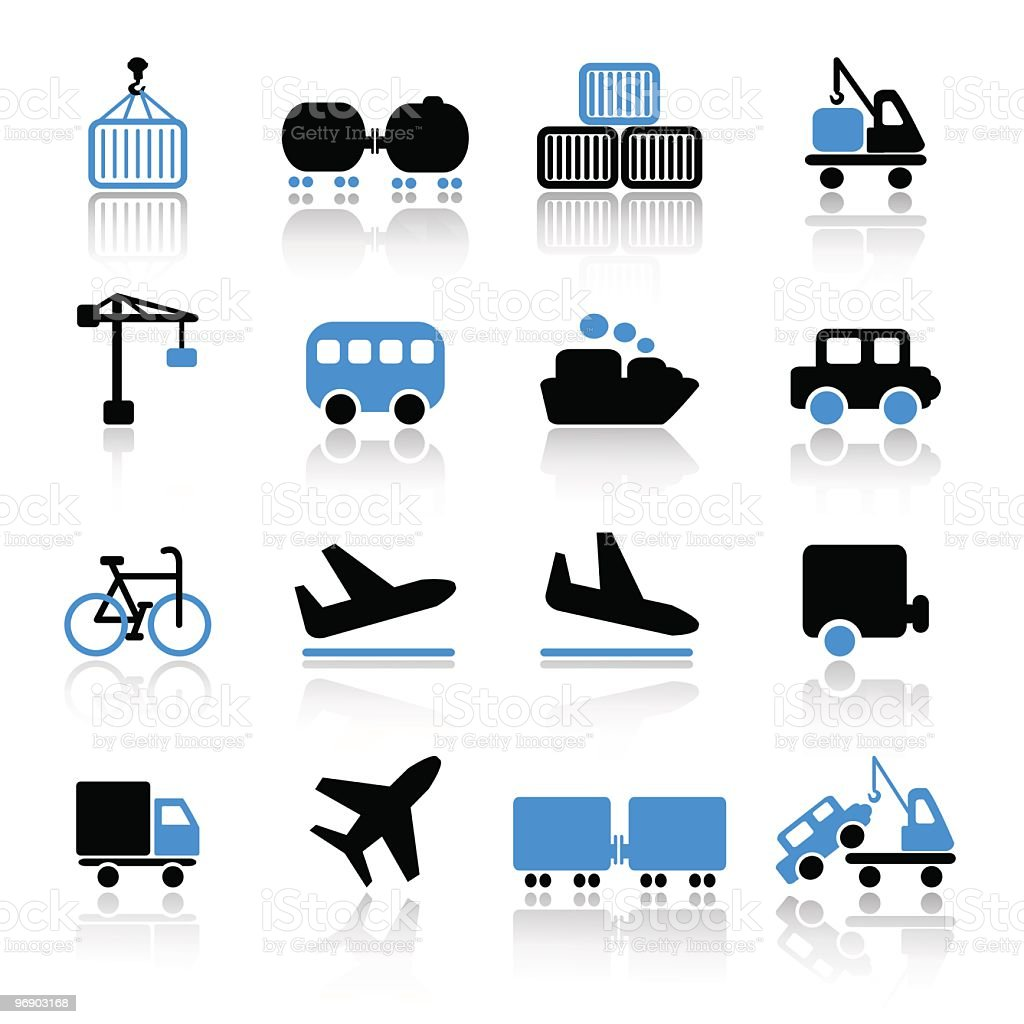Transport icons in blue and black royalty-free transport icons in blue and black stock vector art & more images of arrival