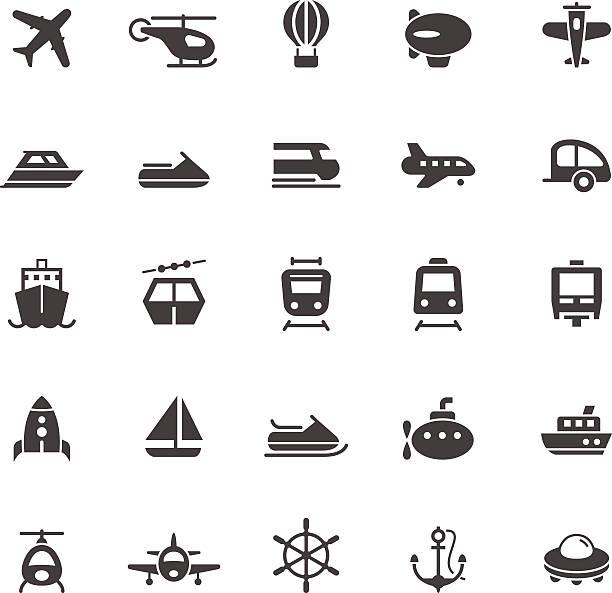 illustrazioni stock, clip art, cartoni animati e icone di tendenza di icone di trasporto su sfondo bianco - linea tranviaria