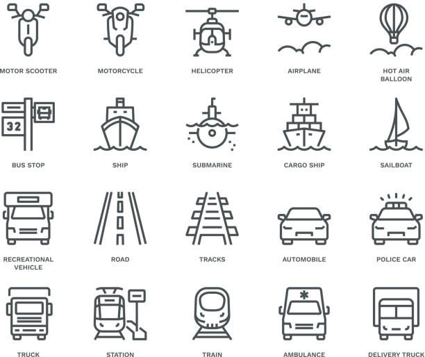 stockillustraties, clipart, cartoons en iconen met transport icons, tegemoetkomend uitzicht, monoline concept - airport pickup