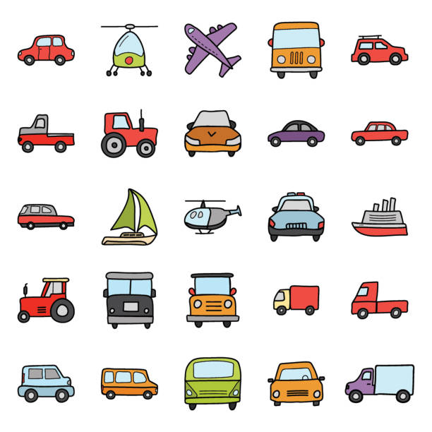 Transport Icons Pack Whether you like to travel by car, bus, train, plane or boat, this transport icons set is your one stop shop for transportation vectors. hatchback stock illustrations
