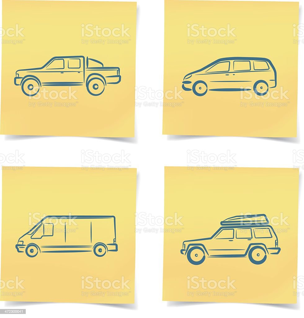 transport icons post-it note royalty-free stock vector art