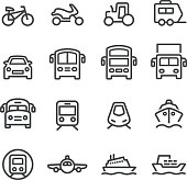 Transport Icons Set - Line Series