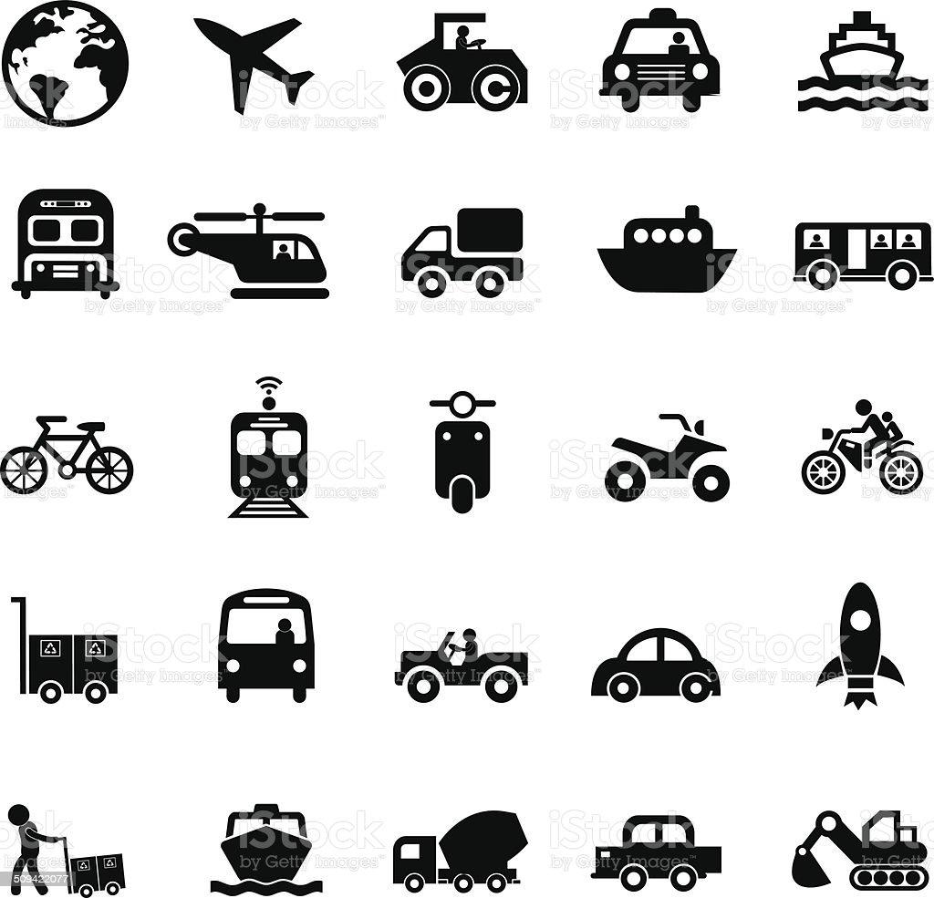 transport icons set vector art illustration