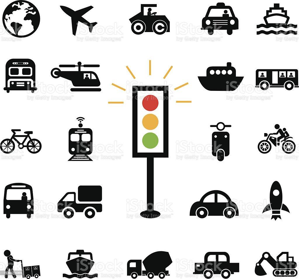 transport icons set royalty-free stock vector art