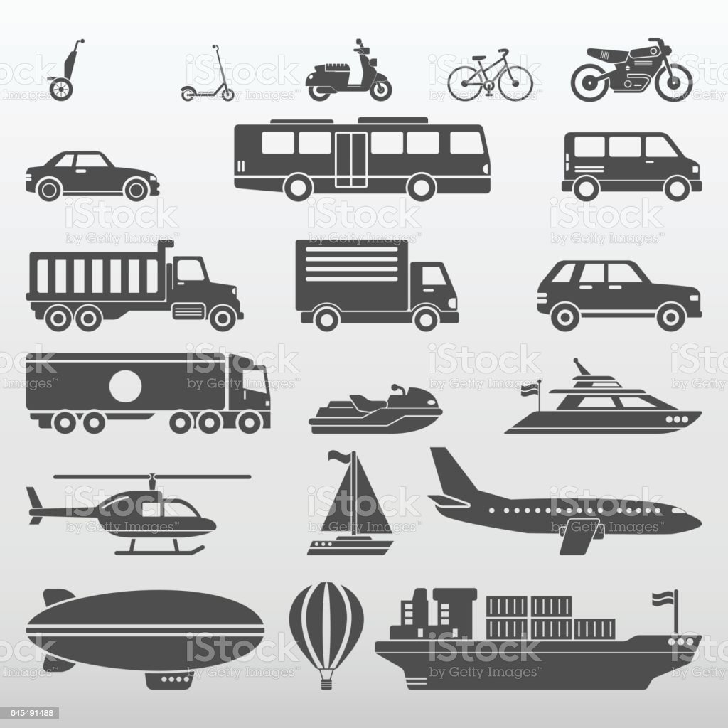 Transport Icons Set Vector Illustration vector art illustration