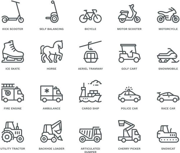ilustrações, clipart, desenhos animados e ícones de ícones do transporte, vista lateral, conceito de monoline - moto