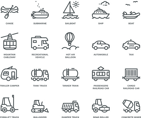Transport Icons, side view,  Monoline concept