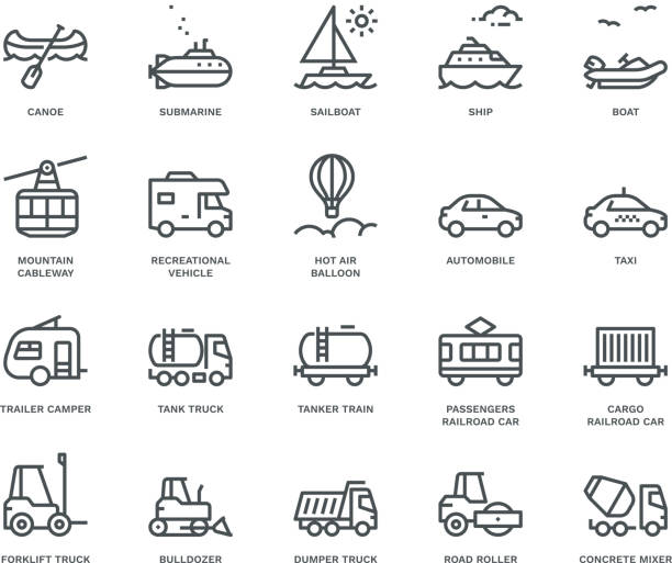 Transport Icons, side view,  Monoline concept The icons were created on a 48x48 pixel aligned, perfect grid providing a clean and crisp appearance. Adjustable stroke weight. motor home stock illustrations