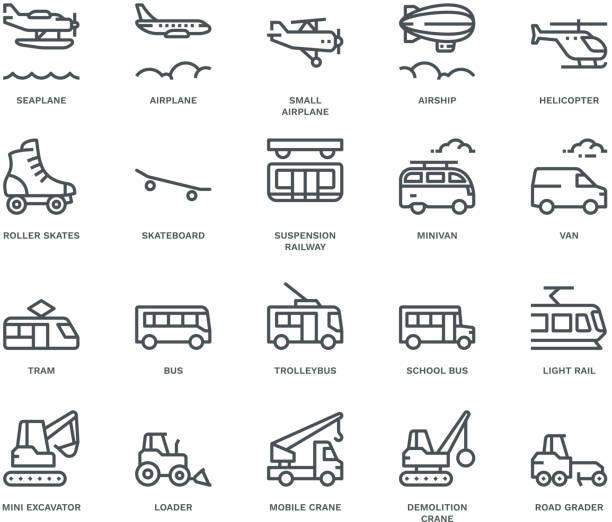 transport icons, seitenansicht, monoline-konzept - van stock-grafiken, -clipart, -cartoons und -symbole
