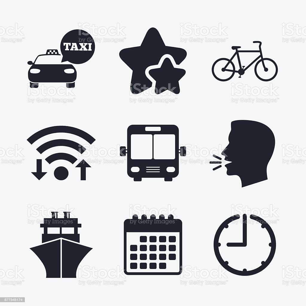 Transport icons. Taxi car, Bicycle, Bus and Ship vector art illustration