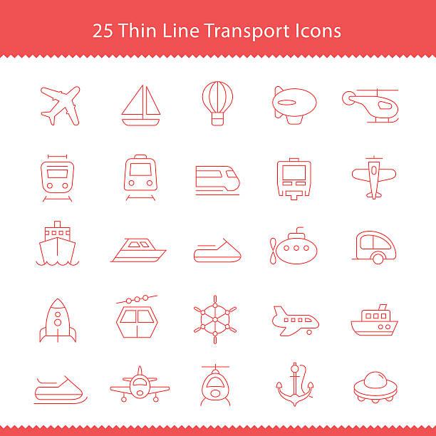 illustrazioni stock, clip art, cartoni animati e icone di tendenza di trasporto icone sottile linea di infarto - subway