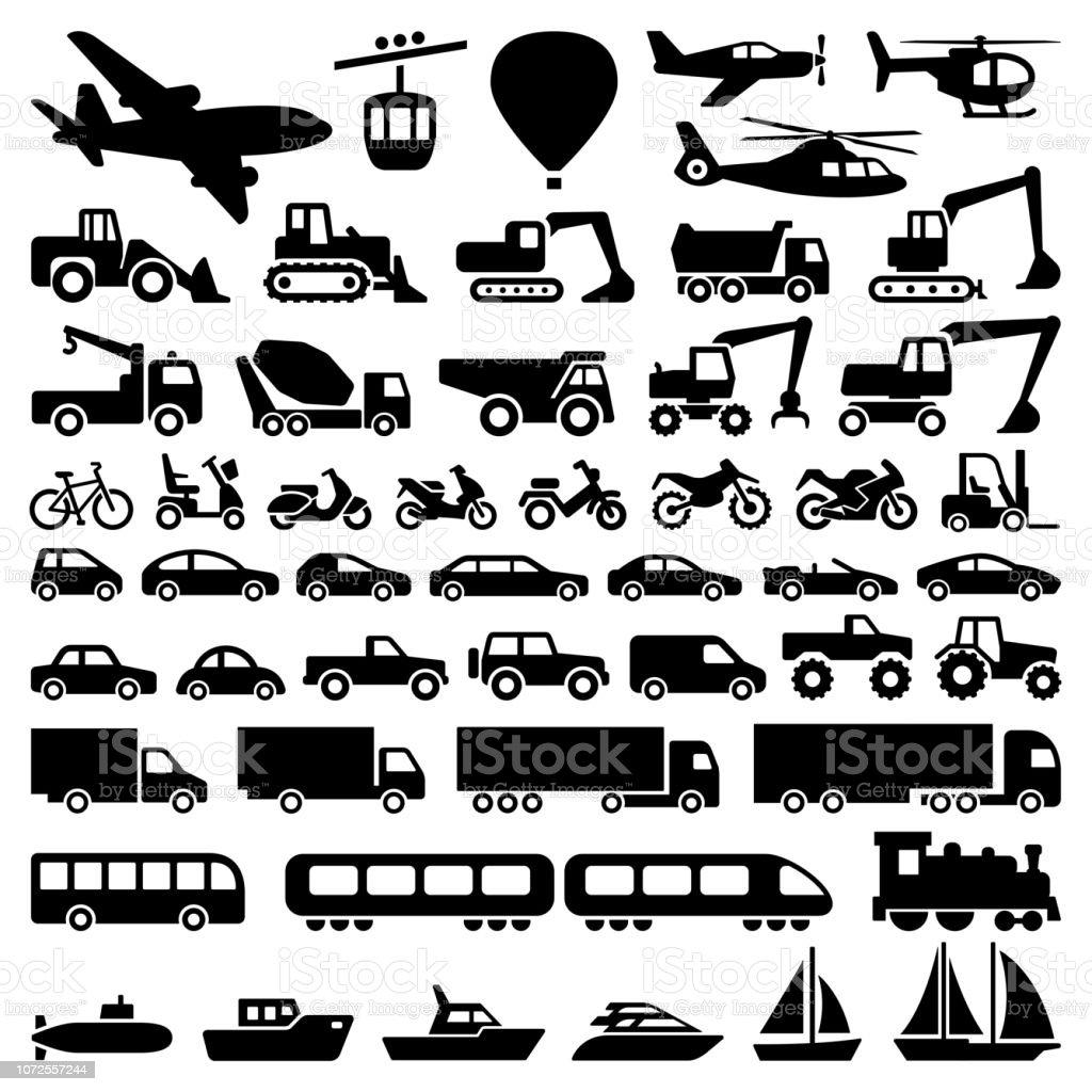 Transport icons - Векторная графика 4х4 роялти-фри