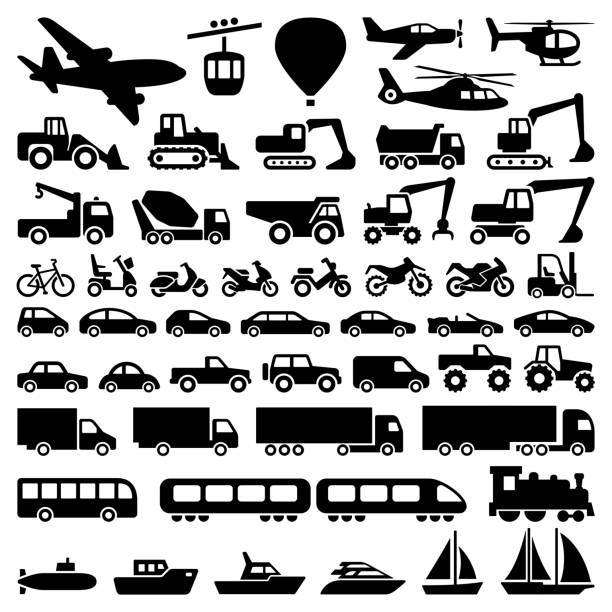 Transport icons Transport icon collection - vector silhouette airplane symbols stock illustrations