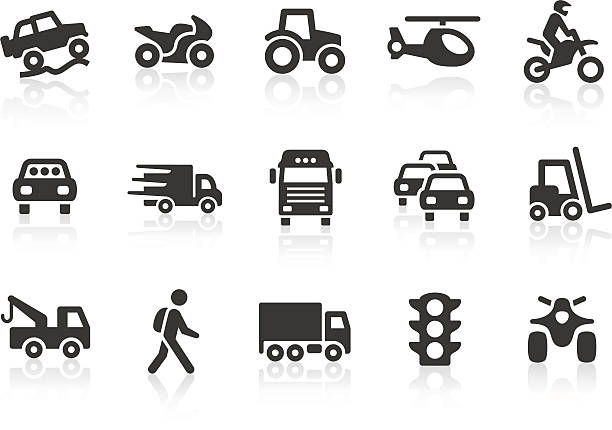 Transport icons Monochromatic transport related vector icons for your design and application. Raw style. Files included: vector EPS, JPG, PNG. quadbike stock illustrations