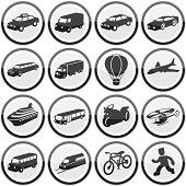Glossy transport icon set