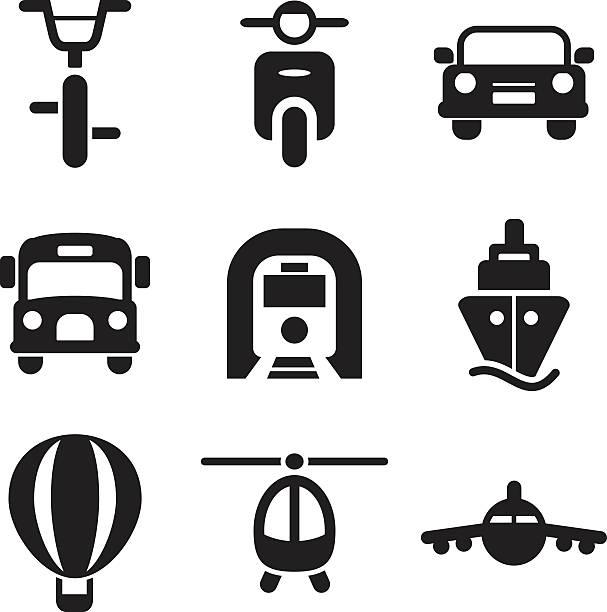 illustrazioni stock, clip art, cartoni animati e icone di tendenza di icone di trasporto - subway