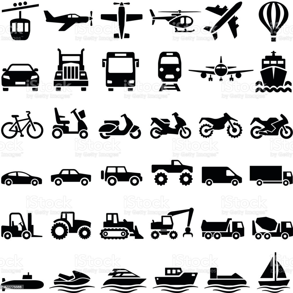 Transport icons - illustrazione arte vettoriale