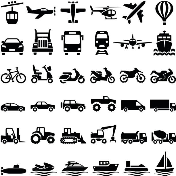 Transport icons Transport icon collection - vector silhouette illustration airplane symbols stock illustrations