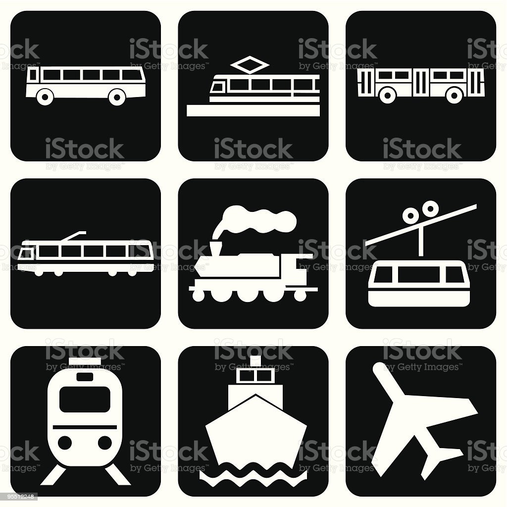Transport icons royalty-free transport icons stock vector art & more images of airplane
