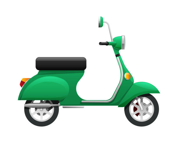 transport. illustration von isolierten grünen scooter - moped stock-grafiken, -clipart, -cartoons und -symbole