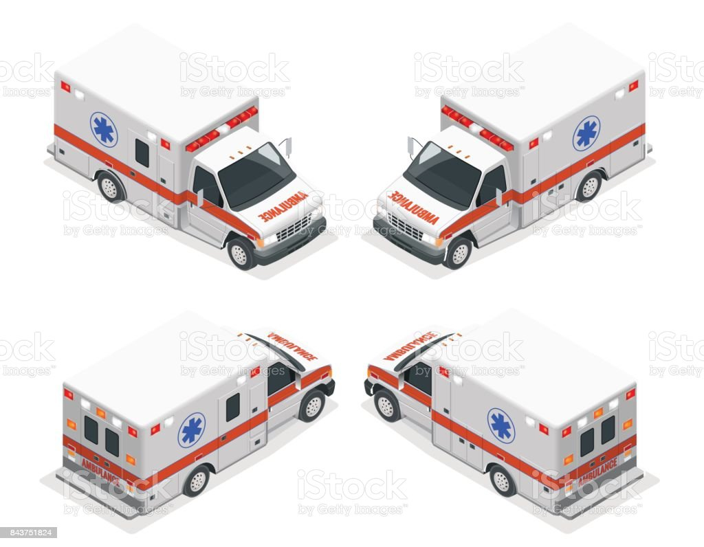 Transport isometric set Ambulance van isolated vector illustration. Emergency medical evacuation accident. Accident Ambulance Aid Service Clinic Emergency Department for Infographics, banner, web vector art illustration
